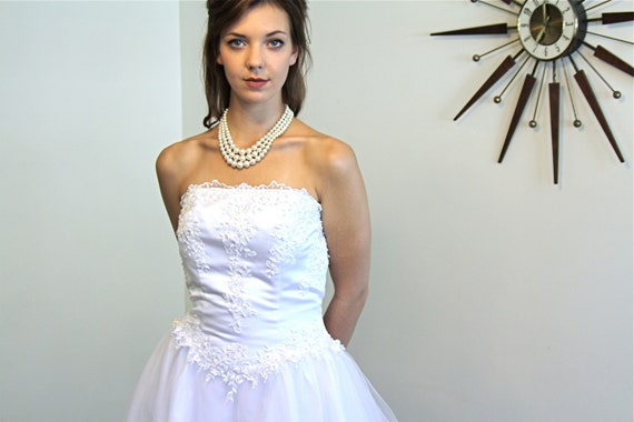 Simple A Line Strapless Ivory Satin Beaded Pearl Wedding: Posies For Lulu Vintage
