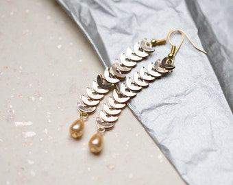 Long Dangle Gold Chain Earrings Gold Drop Beads Boho Glam gold bridesmaid wedding jewelry