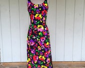 Vintage 60's Black, Neon Floral Psychedelic Funky Wiggle Dress - By R And K Originals - Size Medium /  Large