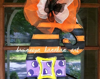 Halloween Witch Hat Door Hanger - Bronwyn Hanahan Art
