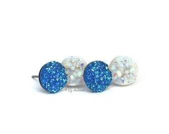 2 Pair Set of Glitter Stud Earrings - 10mm Faux Druzies in Glitter Blue and White, Titanium or Stainless Steel Posts