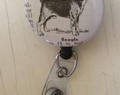 Beagle Vintage Dictionary Illustration Badge Holder