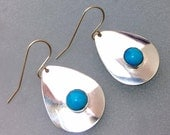 Silver and turquoise earrings teardrop shape with cabochon gemstone earrings, minimalist style designer earrings  stylish gifts for women