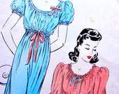 UNCUT Vintage 1940s Vogue  Pattern 8997 //  GLAMOROUS Ladies'  Nightgown w/ High Waisted Ribbons  //  Bust 36 - 38