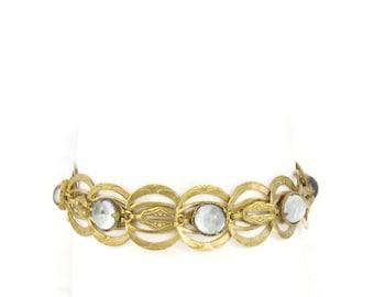 Antique Brass Bracelet Art Nouveau Bracelet Blue Moonstone Glass