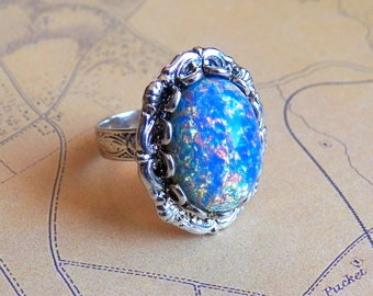 Dreamy Vintage Blue Opal - Silver Ring - Vintage Opal Glass - Adjustable Ring - Jewelry by HoneyNest
