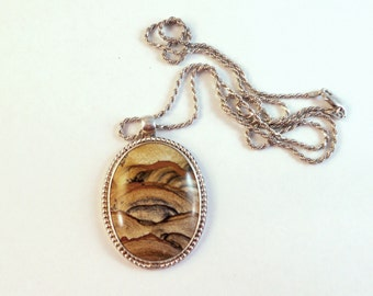 Large Native American picture jasper sterling silver pendant withsterling chain necklace. 30 grams. Signed. Mountain landscape.