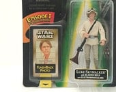 Vintage Star Wars Figure Luke Skywalker with Blaster Rifle, Binoculars & Hat - 1990's Star Wars Figure, Kids Toy in Original, Unopened Pkg.