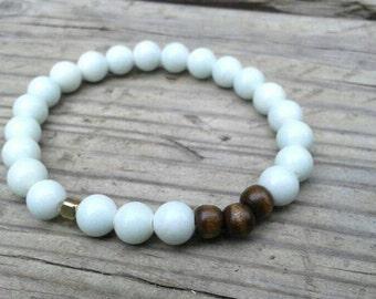 Power Beads -Yoga Inspired Stretch Bracelet. Light Jewelry. Mala Bracelet. Wrist. Bangle Stack. White Agate. Gift. Balancing [LBBR03M]