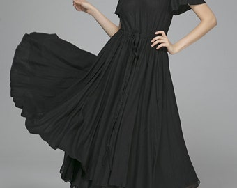 Black Linen Dress - Classic Romantic Floaty Flirty LBD Party Dress or Prom Dress with Cap Sleeves and Drawstring Waist (1403)