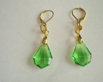 Green Crystal Dangle Earrings Gold Tone