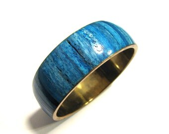 BIG Vintage Heavy Brass and Blue Inlaid Stone Bangle Bracelet
