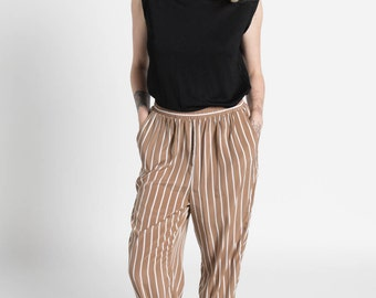 Vintage 90s Brown and White Striped Flowy Elastic Waist Trousers | M/L