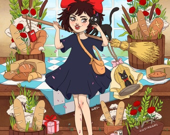 A4 Kiki's Delivery Service Print [Studio Ghibli]