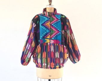 Vintage Guatemalan Coat Rainbow Chevron Stripe Woven Ethnic Jacket L