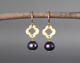 Pearl and Gold Earrings - Blue Pearl Earrings - Gold Vermeil Earrings - Quatrefoil Earrings - Wire Wrapped Earrings Gold - Gold Dangles
