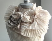 SALE - MINI PLEATED textured scarf by Fairytale13 - natural tones with rose brooch - Handmade in the Uk.