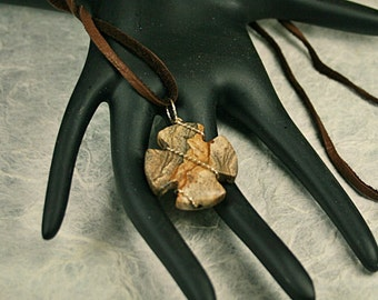 Handsome Unisex Picture Jasper Cross Wire Wrapped in 14K Gold Fill on Leather Cord