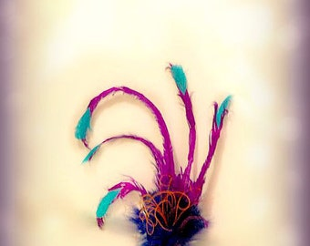 Purple Teal & Royal Blue Fascinator Hair Clip or Comb. Kevin from UP Headress Hairclip Dress Up Costume Pin. Movie Character Inspired Hairdo