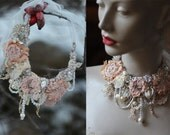 Winter shades - delicate shabby chic  statement necklace, from vintage textiles, vintage finds, silk, hand embroidery