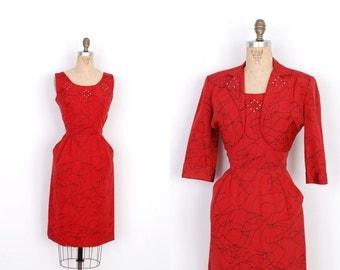 Vintage 1950s Dress / 50s Squiggle Print Dress and Jacket Set / Red and Black (medium M)