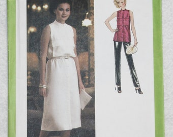 "Size 10 Bust 32.5""  Vintage 70'sSimplicity Sewing Pattern 8997 Sleeveless Dress or Tunic, Stand-up Collar and Front Pockets"