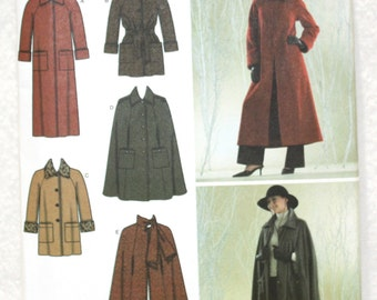 """Sz 16 18 20 22 24  Simplicity Sewing Pattern 3959 Cape and Coat with  Scarf or Collar Size  Bust 38"""" 40"""" 42"""" 44"""" 46"""""""