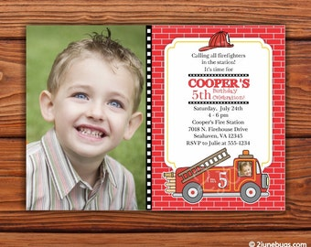 Fire Truck Birthday Party Invitation - Firetruck Party Invitation - Fireman Birthday Party Invitation - PERSONALIZED & PRINTABLE