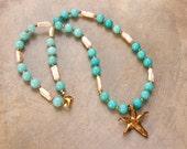 SALE Bronze Starfish Necklace w Amazonite Freshwater Pearls and Gold Plated Pyrite Handmade Oxidized Bronze Sea Star Gemstone Ocean Jewelry