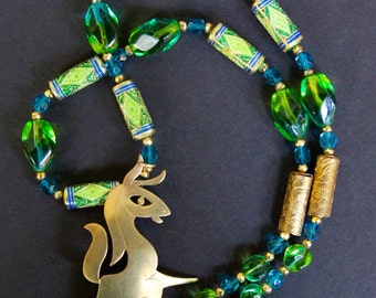 Vintage Retro Horse Pendant Necklace Teal and Lime Givre Glass Lime and Gold Chinese Enamel Beads Gold Plated Pyrite Sparkles