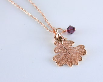 Small Rose Gold Oak Leaf Pendant on 18 inch Chain Necklace, Real leaf Jewelry, Rose Gold Necklace
