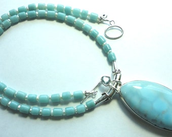 Larimar Pendant Large Larimar Necklace with Blue Topaz and Amazonite Beads w Pearls Extra Large AAA Larimar Pendant with Sterling Silver