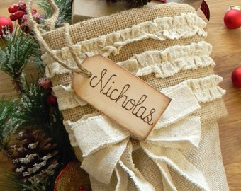 Stocking Name Tag Personalized Custom Wood Tag Rustic Shabby Chic Holidays
