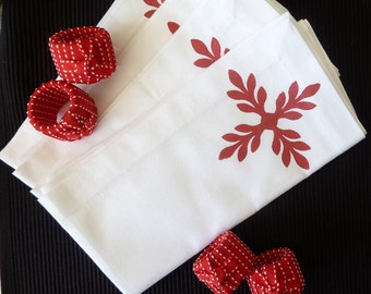 Red Knotted Napkin Rings -Set of 4