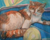Cat portrait painting on silk. The picture of your cat painted on pure silk (scarf of wall hanging), made to order from your photos.