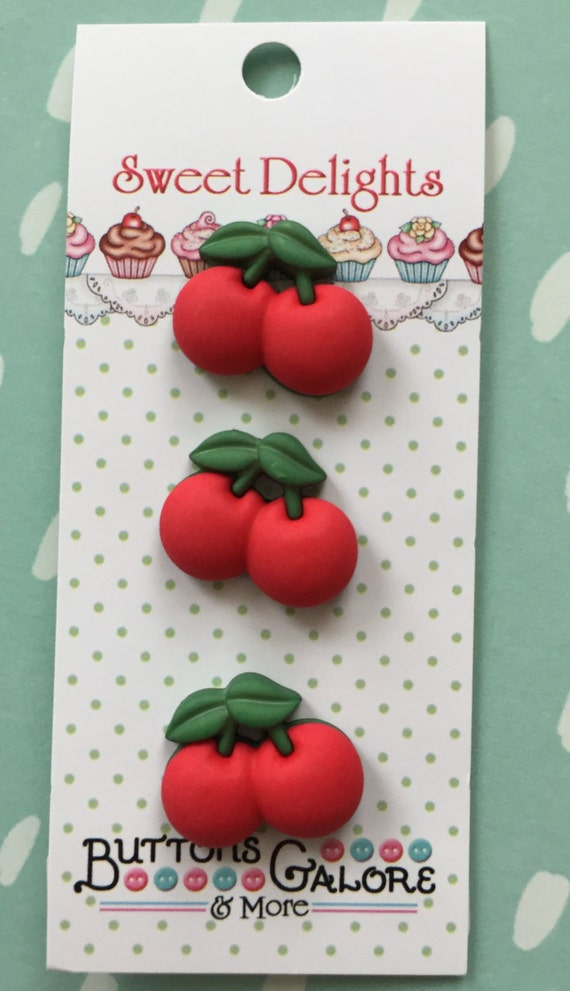 "Cherry Buttons, Sweet Delights Collection ""Cherries"" Style SD120 by Buttons Galore, Carded Set of 3, Shank Back Buttons"