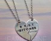 SALE Best Bitches Best Friends heart necklace in silver tone, BFF, friendship set 2pcs