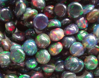 Ethiopia Black Opal Smooth Round Drilled Cabochon Beads,4 -5mm,One side is doom, one side is flat, 1/2 strand - 20% sale