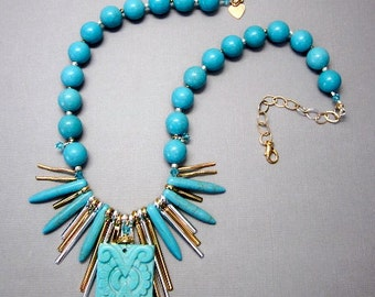 Blue Gold Silver Necklace -- Teal Turquoise Necklace -- Spike Bead Necklace -- Blue Rectangle Necklace -- Mixed Metal Bead Necklace -- Gem