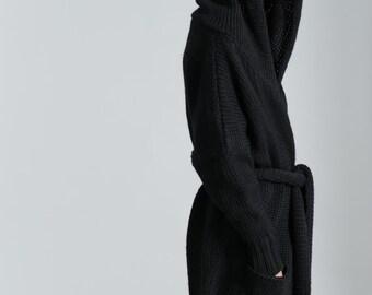 Hoodie Cardigan / Knit Hoodie / Oversize Cardigan / Hooded Coat / Oversize Belted Hoodies / Marcellamoda - MC0185