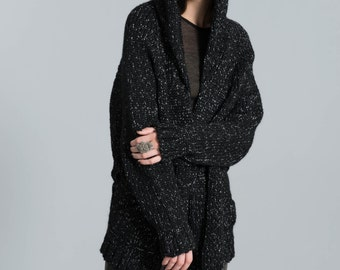 Oversize Hoody Cardigan/ Belted Sweater/ Hoodie Vest/ Belted