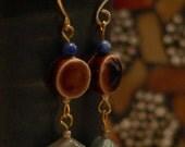 Gemstone earring, brown and blue, blue earring, brown ceramic, blue quartz dangle, blue and brown, boho earring, dangle earring