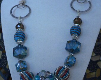 Blue necklace, bold necklace, blue and brown, crystal and suede, statement necklace, boho necklace, crystal necklace