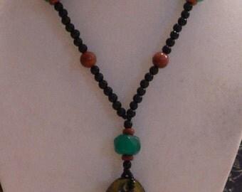 Pendant necklace, Art glass pendant, brown goldstone, green and black, black necklace, green necklace, boho necklace