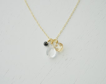 Bouquet Crystal Necklace - swarovski crystal small cluster quartz gold black gold filled chain handmade simple bridesmaid everyday jewelry