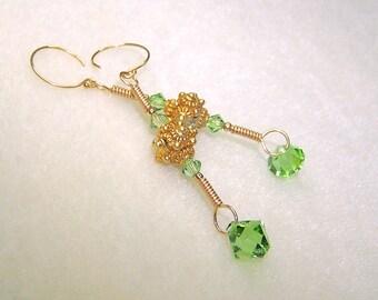 Green Earrings Light Green Earings Peridot Crystal Gold Dangle Earrings for Women Green Crystal August Birthstone Jewelry Gifts for Her
