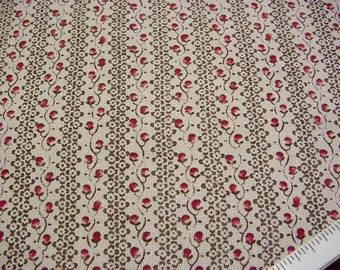 Laura Ashley Decorator Fabric English Country Print - Rosebud Ticking Stripe - Raspberry Pink Beige Brown Out of Print Drapery Material BTY