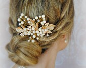 Gold Leaves Hair Comb, Pearls and Crystal Bridal Headpiece, Boho, Rustic, Autumn Leaf Bridal Comb - AUTUMN LANE