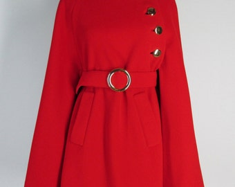 Vintage 60s Tomato Red Belted Cape 1960s Mod Small to Medium