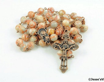 Catholic Rosary Beads Rustic White Marble Copper Natural Stone Traditional Five Decade
